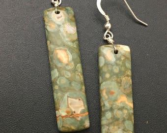 Rainforest Jasper Earrings, Gemstone Slice Earrings, Gemstone Slab Earrings, Rhyolite Earrings, Jasper Earrings, Earrings under 50