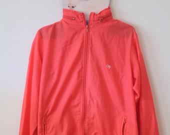 OP Blood Orange Rain Jacket With Zip Away Hood Excellent Condition