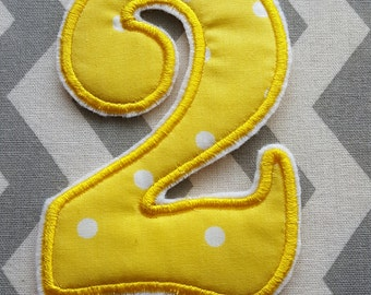Applique Birthday Number 2 Yellow Polka-dot  Iron on No Sew DIY Embroidered Patch Applique