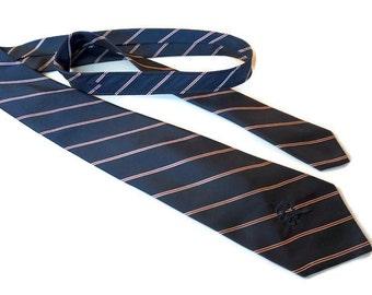 "Vintage High End Silk Tie,COUNTESS MARA Logo and Coronet,Navy Blue and Red Diagonal Stripe Tie,Bullock & Jones,55""x3.3"",Mens Vintage Tie"