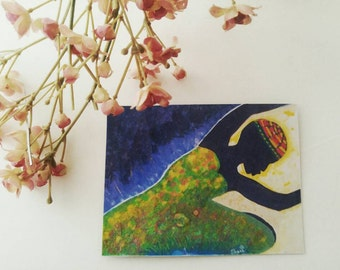 Handmade Original Painting Praise Art  Refrigerator Magnet Kitchen Decor Office Art Collectible Magnet