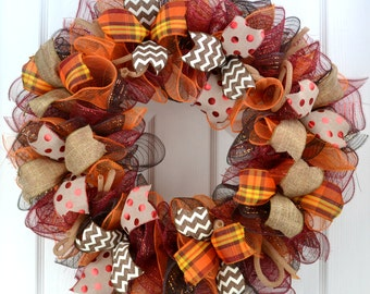 Fall wreath - Thanksgiving wreath - Burgundy wreath - Fall mesh wreath - Burlap wreath - fall front door wreath - thanksgiving door wreath