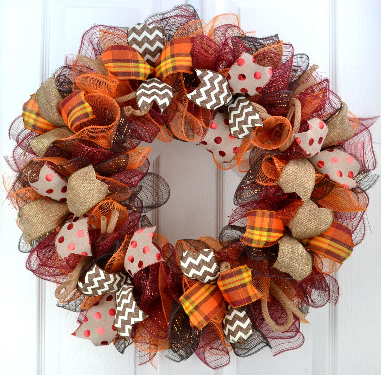 Fall Doorways: Fall Wreath Thanksgiving Wreath Burgundy Wreath Fall