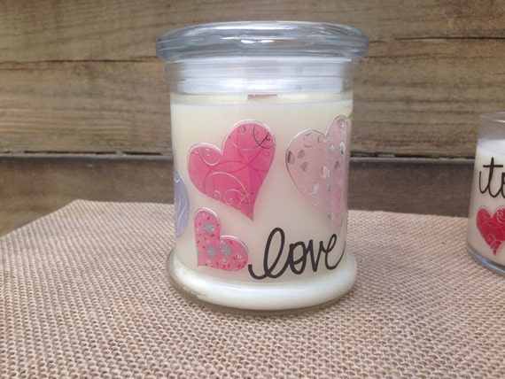 Valentine Love Gift Soy Candle with Wood Wick
