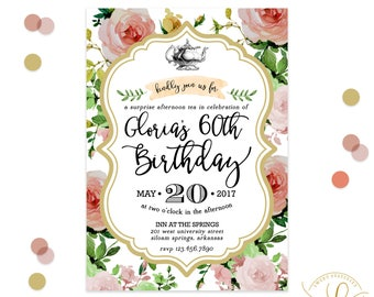 Tea Party Floral Watercolor Invitation | Birthday Tea Invitation | Afternoon Tea | Victorian Invitation | Garden Party Invitation