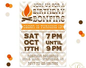 Bonfire Invitation | Bonfire Party | S'mores Invitation | S'mores Party | Backyard Party Invitation | Printable Invitation