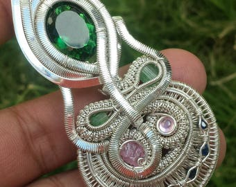 Sterling Silver Wire Wrap Pendant Tourmaline /Quartz/Sapphire Handmade by Artist + 1 Chain