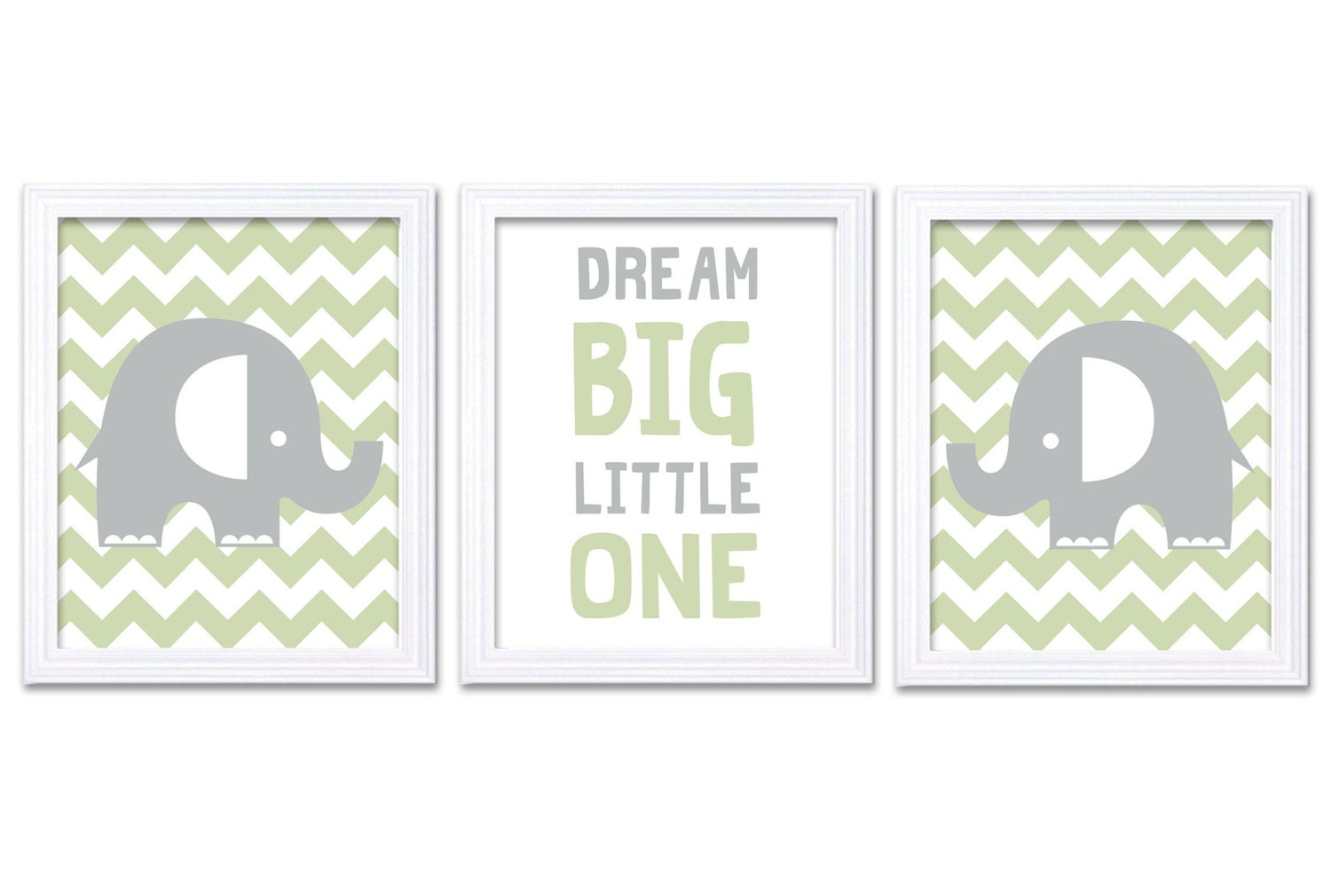Sage Green Grey Elephant Nursery Art Dream Big Little One Set of 3 Prints Stripes Child Art Kids Roo