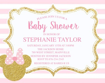 minnie mouse baby shower invitations  etsy, invitation samples