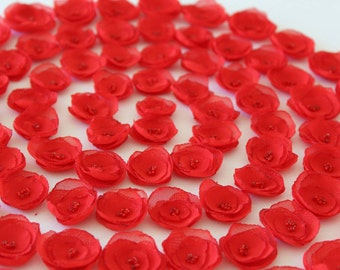 Red flowers Small flowers Fabric flowers Wedding decor Party decor Valentines day Flowers applique centerpieces