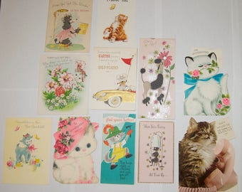 11 Vintage Used Mid Century 1950's - 1960's Greeting Cards, Mothers Day, Birthday, Get Well