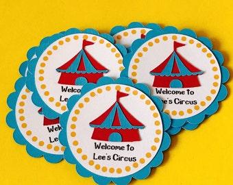 Thank you tags:Circus theme set of 12