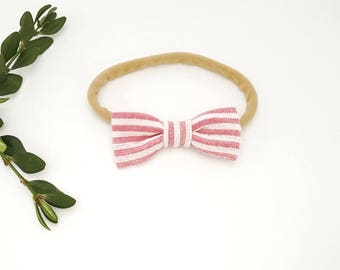 Petite baby hair bow - Red and white striped bow