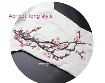 Pink Apricot Red Purple Plum Blossom Lace Appliques Embroidery Vintage Shabby Chic Lace Sewing on Patch Trim for Costume Design