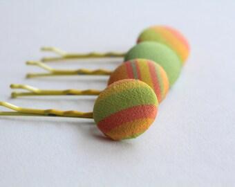 H A N D M A D E  Fabric covered button hair clips.