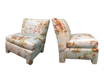 Pair of Hollywood Regency Chinoiserie Toile Upholstered Slipper Chairs