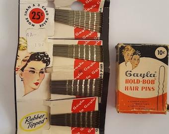 Vintage pair of Gayla  Hold - Bob Hair Pins, Bobby Pins, 1940's to 1950's full card, partial box, hair salon, hair stylist