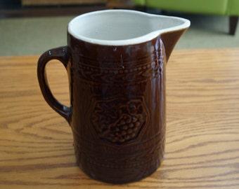 Antique Stoneware Pitcher-Grapes on Faux Wood-Dark Brown Glaze-1910s