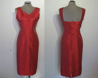 "Gorgeous 1950s silk look wiggle dress w/cutout back detail waist 30 1/2"" great design"
