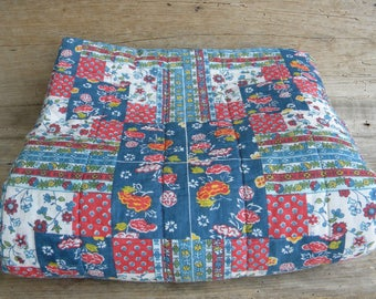Vintage 70's Patchwork Snuggie / Blue Red Yellow Patchwork Snuggie / Snuggler / Snug Sac / Slumber Bag / Sleep Sack