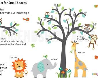 Nursery Decal, Jungle Wall Decals, Nursery Wall Decal, Giraffe, Elephant, Lion, Modern Boy Scene