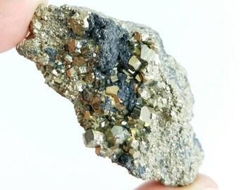 """Pyrite """"Fool's Gold"""", Huanzala Mine, Peru - 68mm x 44mm x 35mm"""