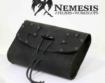 Soft leather pouch - Large - Black