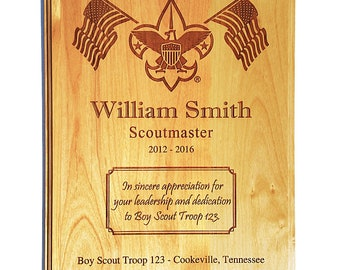 Scout Leader or Member Recognition Plaque - 8 x 10 or 9 x 12 Alder