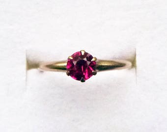 Early 1900s synthetic ruby tiffany claw set solitaire ring 10k yellow gold size 6.5