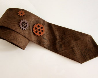 Rugged Steampunk Tie with Wooden Gears
