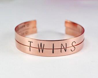 Twins Bracelet Set, Twin Sisters Bracelets, Split Half Word Cuff Bangle Bracelets, Twin Bracelet Gift, Sisters and Best Friend Jewelry