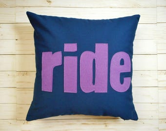 Horse Pillow, Navy Cover, Ride, Purple, Equestrian Decor, Custom Throw Cushion,  Equestrian Pillow, Gift for Horse Lover, Horseback Riding,