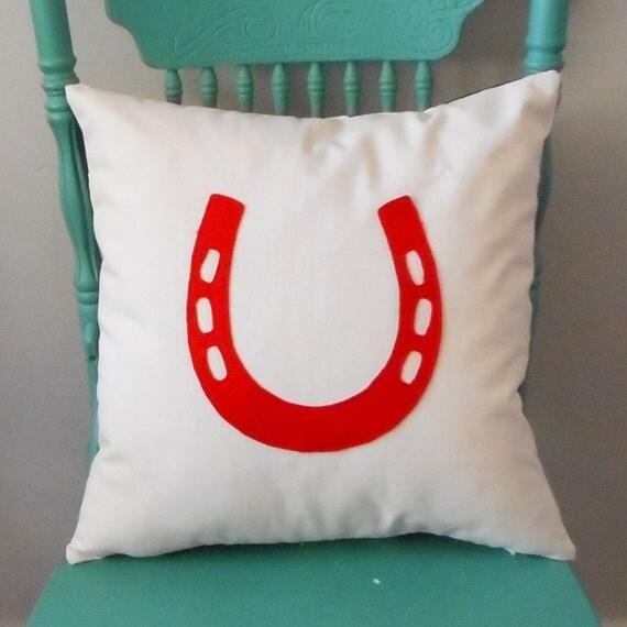 Horse Shoe Pillow - Custom designed / Equestrian pillow / Cover / horse lover / pillow with horseshoe/ barn pillow / pony pillow / horseshoe