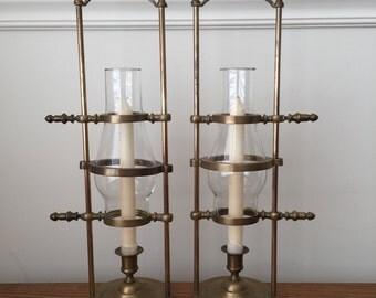 Antique brass hurricane lamps