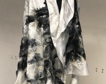 Art felted scarf, Shades of gray, silk and  merino wool, wearable art, black and white, ready to ship, FREE SHIPPING!