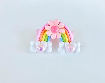 Pastel Flowery Rainbow Hair Clip
