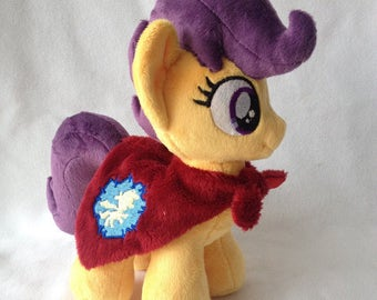 Plushie Scootaloo with closed wings and cape