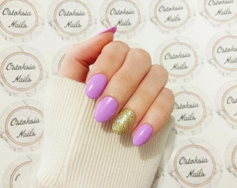 Pastel Lilac and Gold Press On Nails