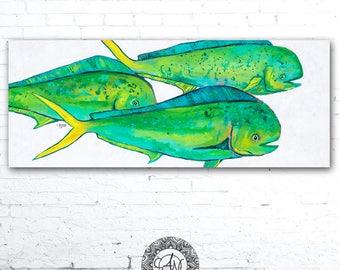 Dolphinfish, Mahi Mahi Painting, Fish Print, Fish Artwork, Fish Art Print, Fishing Decor, Sea Life Art, Fish Painting, Fisherman Gift