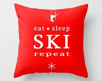 Ski Pillow Cover, Eat Sleep Ski Repeat, 6 sizes, 4 fabrics, home decor, red, Ski Decor, Throw Pillow, Winter,Interior Design,
