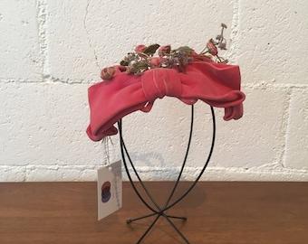 1950s Pink Velour Floral Fascinator // Vintage 1950s Hat Topper  // 50s Pink Blue Rose Bud Fascinator