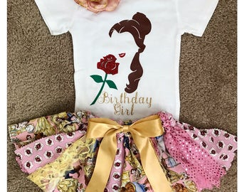 Belle-Disney Princess-Disney Princess Party-Princess Belle-Belle Outfit-First Birthday Set-Belle Shirt-Belle Oneise-Beauty and the beast-