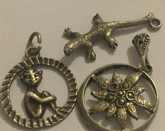 Vintage Sterling Silver Bracelet Charms And Pendants