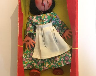 Boxed Pelham Puppet, Vintage Marionette String Puppet, Gypsy Girl, 1960's, Wooden Hand Painted, Reto Toys