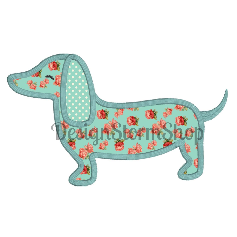 dog applique design dachshund machine embroidery. Black Bedroom Furniture Sets. Home Design Ideas