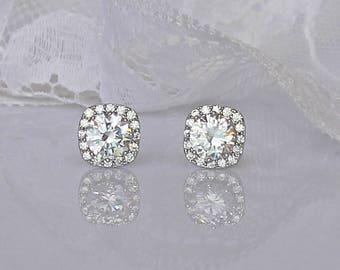 Silver Crystal Stud Earrings, Crystal Bridal Earrings, Bridesmaids Stud Earrings, Stud Wedding Earrings, Crystal Post Earrings