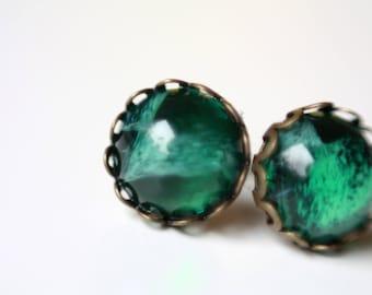 12 mm Stud Earrings, bronze green