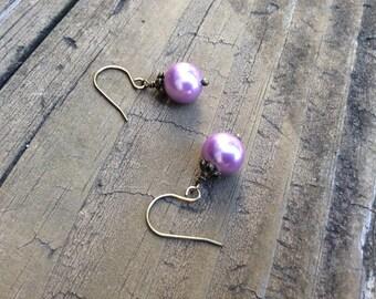 Purple Victorian Look Pearl Earrings, Downton Abbey Jewelry, Purple Pearl Earrings