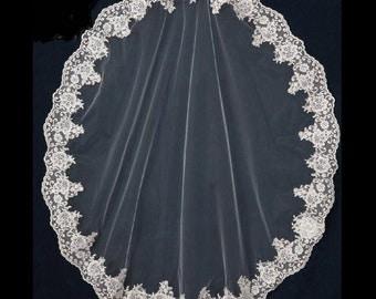 Silver Embroidered Alencon Lace Mantilla Wedding Veil Fingertip Length