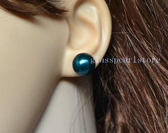 12mm huge round teal pearl stud earrings,teal color glass pearl earrings stud,big pearl earrings,wedding bridesmaid Jewelry,women earrings